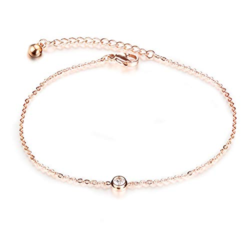 QJLE Stainless Steel Beach Anklets Ankle Bracelets for Women,14K Rose Gold Plated Adjustable Foot Chain Heart Elephant Bead Anklet for Teen Girls (Solitaire CZ)