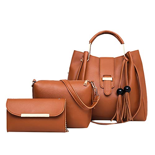 3Pcs Women's Leather Hobo Bag Metal and PU Leather Handle Bag with Beaded Tassel Pendant Briefcase Gift Removable Liner and Wallet Women's Shoulder Bag Messenger Bag Wallet (Brown)