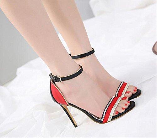 Heel Sandales Pour eu35 Gaogenx Stiletto Taille 35 43 Des Eu38 Pompes Strass À Fête Black Club Chaussures Multicolore Robe Femmes vHx5H8wgq