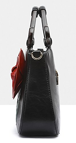 Rose Handbag Black PU Leather Shoulder QZUnique Chinese Retro Style 2 Bags Tote Flower Bags pwxqqZ1tz