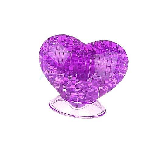 Shallen Creative IQ Crystal Block Puzzle Jigsaw Toy 3D Loving Heart DIY Model Purple