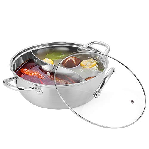 ArderLive Shabu Shabu 18/10 Stainless Steel & Glass Lid Hot Pot With Divider And Ladles, 13 inch.
