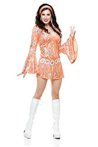 Charades Women's Disco Queen Costume Dress, Tangerine, X-Large -