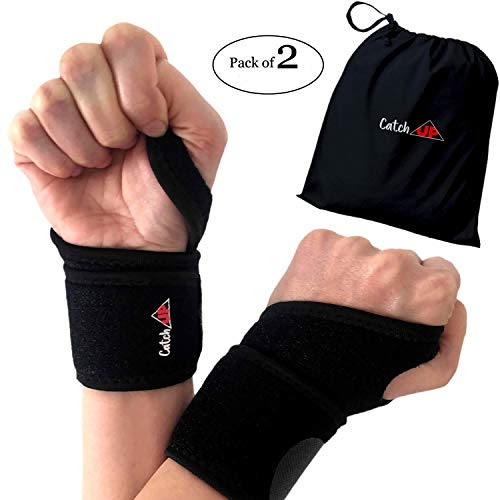 Wrist Brace Support 2 Pack - Neoprene Wrist Wraps for Women, Men and Kids, Adjustable for Right and Left Hand. Use for Yoga, Carpal Tunnel, Tendonitis, Gymnastics, Bowling, Weightlifting, Typing