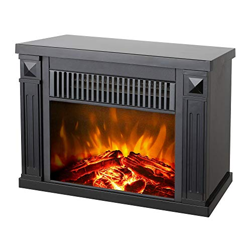 Konwin Small Electric Tabletop Artificial Faux Fireplace Space Heater, Black