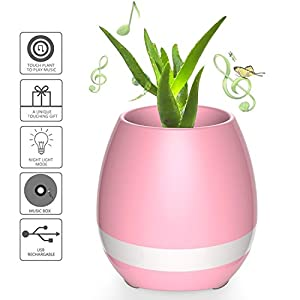 Smart Music Player Planter, DIY Flower-Pot Night Light, Plant-Pot Room Decor, Birthday Gift For Children, LED Light Party Decorations, LED Rechargeable Lamp(Without Plant) Pink