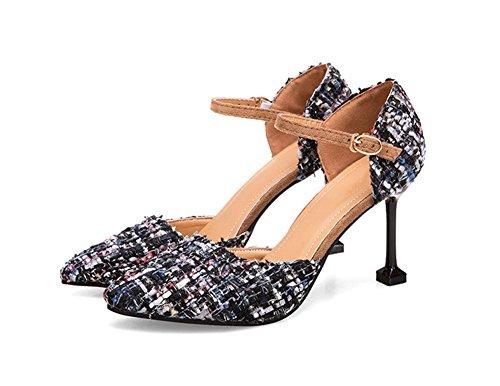 Zapatos Sandals Night Nvxie 38 Summer De Con Mujer Women's Moda Vino Plaid 34 Altos Copas Negro Tacones Club qxOROnBw