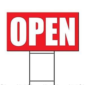 Open Business plástico corrugado Yard Sign/libre juego un lado Impresión 12x 18