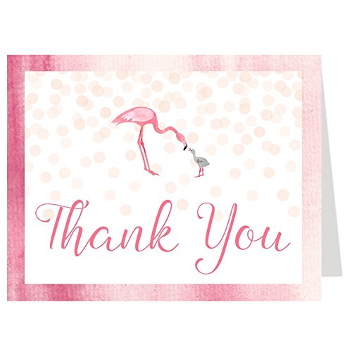 Pink Flamingo Note (Flamingo Baby Shower, Thank You Cards, Birthday Party, Watercolor, Polka Dots, Girls, Pink, Blush, It's a Girl, Tropical, Beach, Set of 50 Folding Thank You Cards with Envelopes)