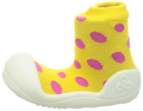 Attipas–Zapatos de amarillo de lunares, bebé Walker zapatos para zapatillas, color amarillo, talla 37