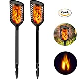 Solar Torch Lights Outdoor-Flickering Flames Solar Tiki Torches Lamp-Waterproof Flame dancing Spotlights Landscape Decoration Wireless Lighting,Dusk to Dawn for Garden Patio Deck Yard Driveway Pathway