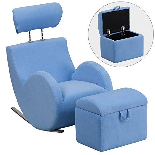 Flash Furniture Hercules Series Light Blue Fabric Rocking Chair with Storage Ottoman (Chrome 10' Accent Light)