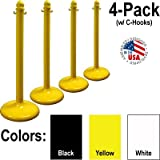 Plastic Stanchion 4 Pack for Crowd Control - Yellow