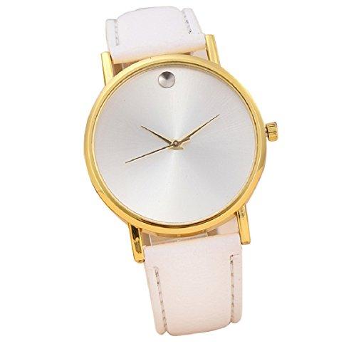 Doinshop New Fashion Womens Retro Design Leather Band Analog Alloy Quartz Wrist Watch (white)
