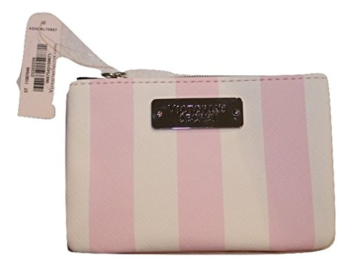 Victorias Secret Keychain Coin Purse Pink   White Stripes Wallet Nwt
