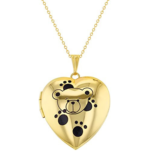 Gold Tone Heart Photo Teddy Bear Paws Kids Locket Pendant Necklace 16