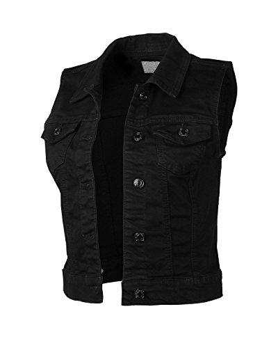 Dream Supply Womens Juniors Sleeveless Button Up Jean Denim Crop Top Jacket (Black Denim Crop)