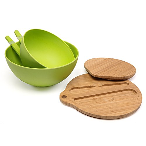 Bamboo Salad Bowl Bamboo-Fiber Bowl Set with Lids & Inset Utensils – Lids Double As Cutting Boards – Smaller Bowl Nests Perfectly Inside Larger for Easy Storage (Sink Double Inset)