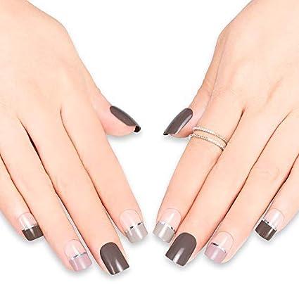 Doreliss uñas postizas 30 Pcs Francia Consejos corto uñas falsas de Pegamento adhesivo de doble cara