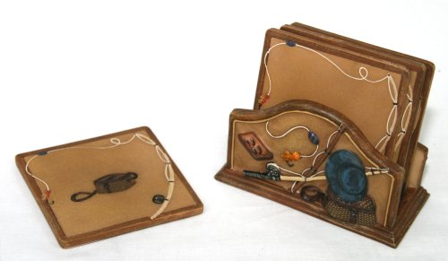 Drink Coaster Set with Holder Handpainted Fishing Design