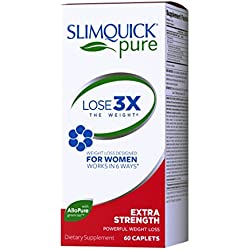 Slimquick Pure Extra Strength Caplets, powerful dietary supplement, 60 count, Lose 3x the weight (Packaging May Vary)