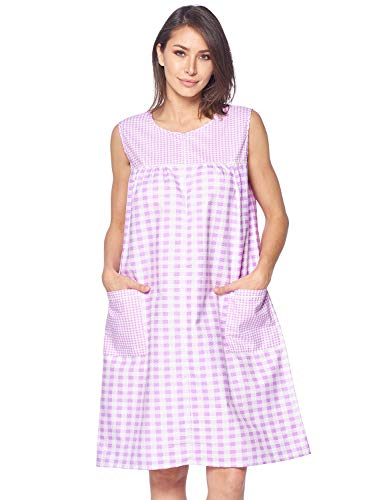 Casual Nights Women's Zipper Front House Dress Duster Sleeveless Housecoat Lounger Robe, Gingham Purple, X-Large