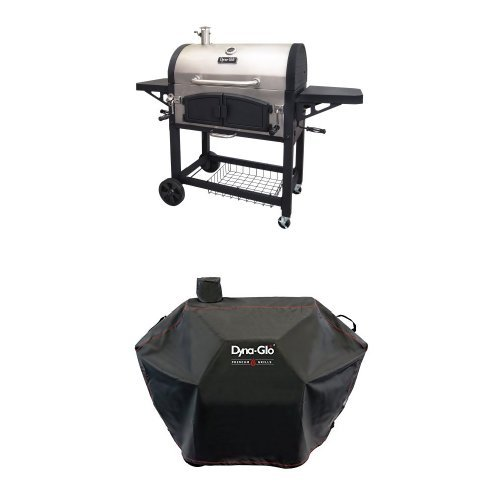 Dyna-Glo DGN576SNC-D Dual Zone Premium Charcoal Grill and Premium Charcoal Grill Cover, Large