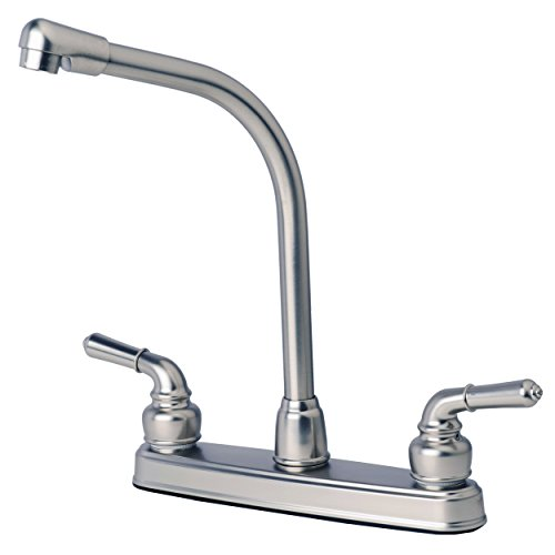 Builders Shoppe 1200SS RV Mobile Home Non-Metallic High Rise Swivel Kitchen Sink Faucet Brushed Nickel Finish