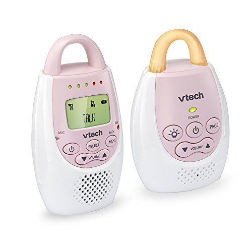 VTech BA72211PK Pink Audio Baby Monitor with up to 1,000 ft of Range, Vibrating Sound-Alert, Talk Back Intercom & Night Light Loop ()