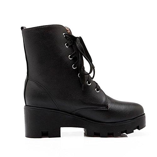 Rivet Boots Studded Bandage Black Imitated Platform Leather BalaMasa Ladies P0OTw0E