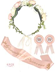 Baby Shower Decoration for Girl, Mom To Be Flower Crown, Growing a Princess Sash, Mommy to be Pin, Dad To Be Pin, Baby Shower Party Favors Decorations Gift, Mother to be Sash, It's a Girl