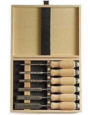 Narex Steekbeitel set met houten boekjes in houten koffer, 6-delig