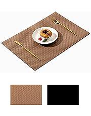 """LCAWEI 15"""" ronde Placemats Set van 4 gevlochten dinermatten van PU-leer - antislip en hittebestendig geweven lederen tafelmatten voor keuken eettafel"""