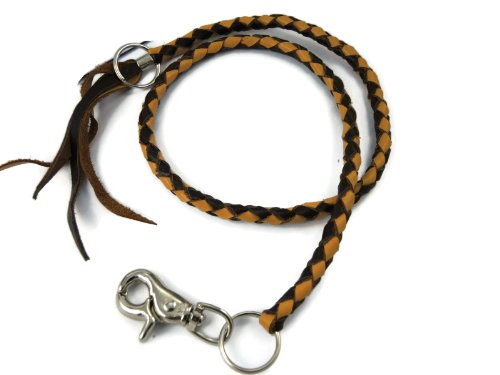 BrownBeans, Braided Two-Tone Brown Genuine Leather Biker Wallet Chain (LWC1013)