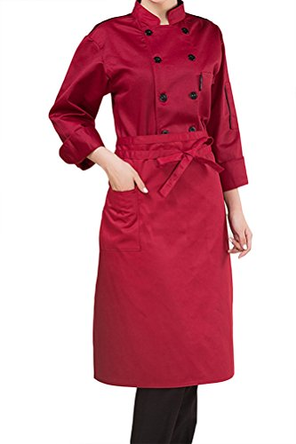 Nanxson(TM) Unisex Damen Herren Baumwolle Kochjacke langarm Kochkleidung  Uniform Berufsbekleidung mit Tasche CFW1003 ... fb78c24f4c