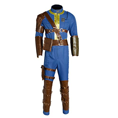 Mens's Halloween Blue Jumpsuit Sole Survivor Uniform Nate Vault 76 Vault 111 Cosplay Costume]()