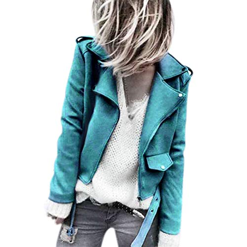 Automne Mode Zipper Jacket Moto Bombers Biker Femmes Longues Manches Chic Bleu Femme Blouson Printemps Manteau Veste Casual Bomber Court XTnqHFp