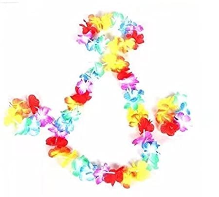 light lei leis flashingblinkylights party up sku rainbow flower a no flashing wearing model necklace led