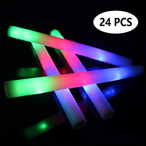 Glow Sticks Party Pack 24 Count – Multicolor LED Foam Sticks Glow Batons with 3 Flashing Modes, Light Up Party Favors Kids Toys for Festivals Raves Birthday Wedding Christmas by YJOY