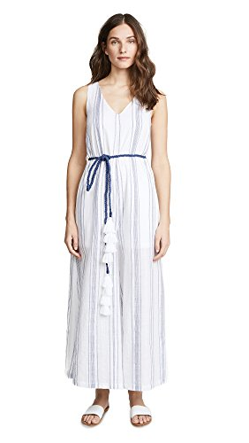 VETIVER Women's Sweetwater Wide Leg Jumpsuit, Bright White/Blue, 2 (Sweetwater Wash)