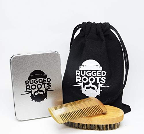 Boar Bristle Beard Brush and 100% Sandalwood Beard Comb - Unique Gift for Men, Fathers Day Gift.