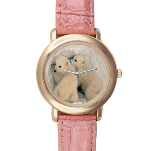 Gifts for Girls/Ladies Baby Polar Bears Pink Leather Alloy Watch
