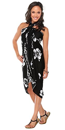 1 World Sarongs Womens Hibiscus Flower Cover-Up Sarong in Black/White -