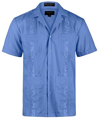 (Ward St Men's Short Sleeve Cuban Guayabera, M, 15-15.5N, French Blue)