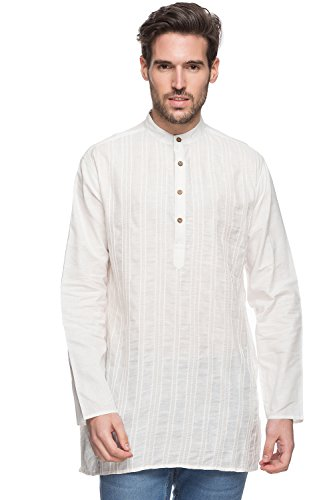 Shatranj Men's Indian Mid-Length Kurta Tunic Banded Collar Textured Shirt with Pin-Tucks; Off-White; SM by Shatranj
