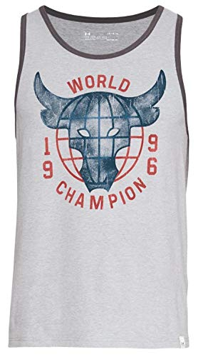 Under Armour Men's UA x Project Rock 96 World Champ Tank Top Shirt, Grey, Medium