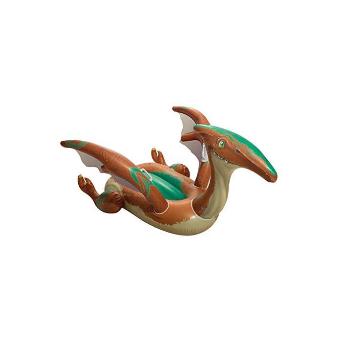 41wJfCk %2BmL Tiene un diseño a todo color de dinosaurio con grandes alas con agarraderas para flotar con seguridad El complemento para la piscina o mar para que tus hijos se diviertan mientras se refrescan Tiene unas medidas de 198x164 cm indicado para 1 niño