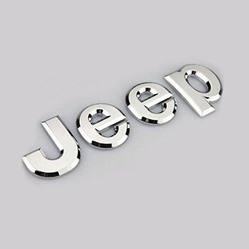 (Automaze Jeep Trunk Bonnet OEM Emblem Hood Badge Sticker For Jeep Cherokee Wrangler Off Road, Silver)