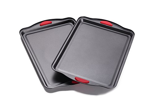 Home and Kitchen Bakeware - NonStick Cookie Sheet Set of 2 - Baking Sheet Set - Baking Tray - BPA-FREE - Easy Grip Silicone Handle for Maximum Safety - Designed for both Youngs and Adults by Home & Kitchen Group