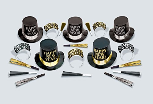 Amscan Midnight Elegance New Year's Party Kit for 10 New Years Kit